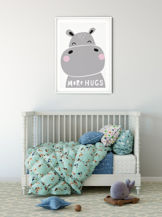 Nursery Wall Print | Kids Bedroom Print | Kids Bedroom Decor | Newborn Baby Print | Kids Wall Art | Baby Shower Gifts | Hippo Animal Print