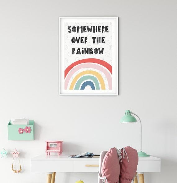 Somewhere Over The Rainbow - Scandi Inspired Wall Print | Kids Room | Play Room | Nursery | Gifts | Baby Shower | Creative | Playful | Girls