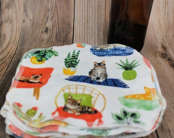 Reusable wipes, cleaning polishing cloth, cats with plants zero waste set of 10