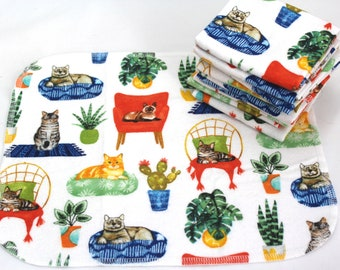 Unpaper towels, reusable paper towels Cats & Plants paperless kitchen set, zero waste set of 10