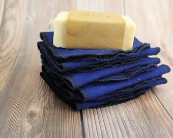 Reusable toilet paper, blue family cloth wipes, zero waste gift, eco friendly set of 10