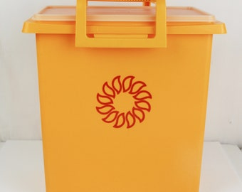 Vintage Tupperware 1430-3 storage container harvest yellow gold sun tall craft tote 70s kitchen