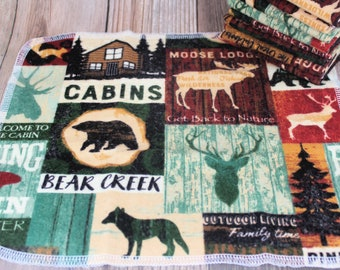 Unpaper towels, reusable paper towels, cabin forest fishing paperless kitchen set, zero waste set of 10