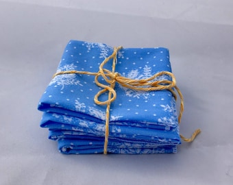 Cloth napkins, reclaimed, reusable eco-friendly Lunchbox napkins, Blue floral,  zero waste cloth wipes set of 10
