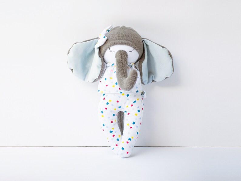 Stuffed elephant for baby nursery decor Cuddly elephant image 0