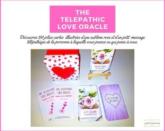 The Telepathic Love Oracle - Bilingue français/anglais - 100 cartes oracle amour télépathique + PDF Tirage - Sac velours rose - Auto-édité