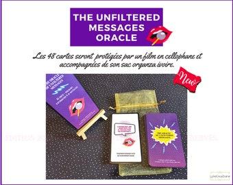 Oracle des Messages sans filtre - Bilingue anglais/français - 47 cartes glossy - punchlines-affirmation-motivation - Sac ivoire - Auto-édité