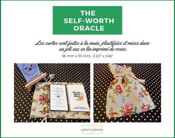 The Self-worth Oracle - Bilingue Français/Anglais - 43 cartes d'affirmations positives - Artisanal/Fait-main - Sac lin floral - Auto-édité