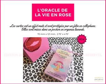 L'Oracle de la vie en rose - En Français - 50 cartes oracle de guidance et conseils intuitifs - Effet Mate - Organza lavande - Auto-édité
