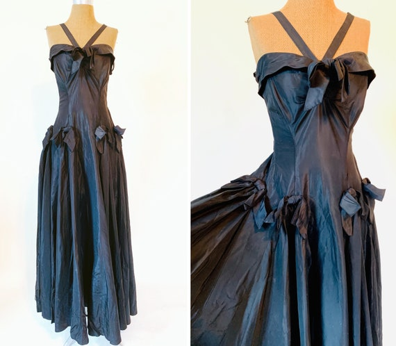 Vintage 1940's Black Gothic Taffeta Bow Gown by Ne