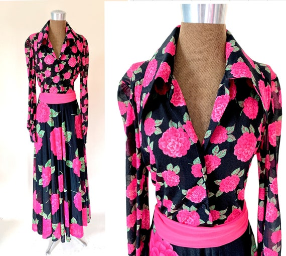 Vintage 70's Dramatic Floral Collared Maxi Dress G