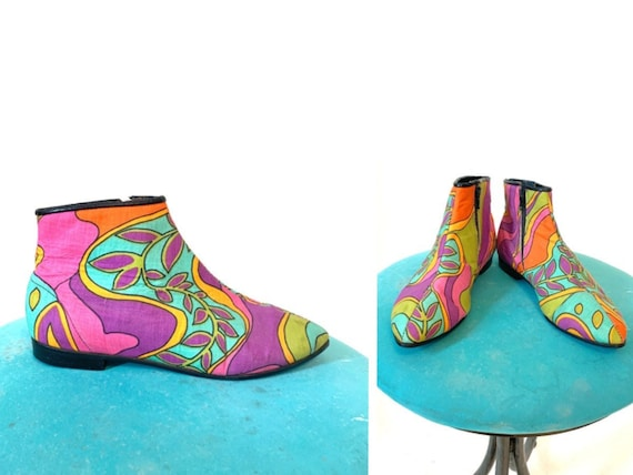 Vintage 60's Mod Psychedelic Paisley Go-Go Ankle B