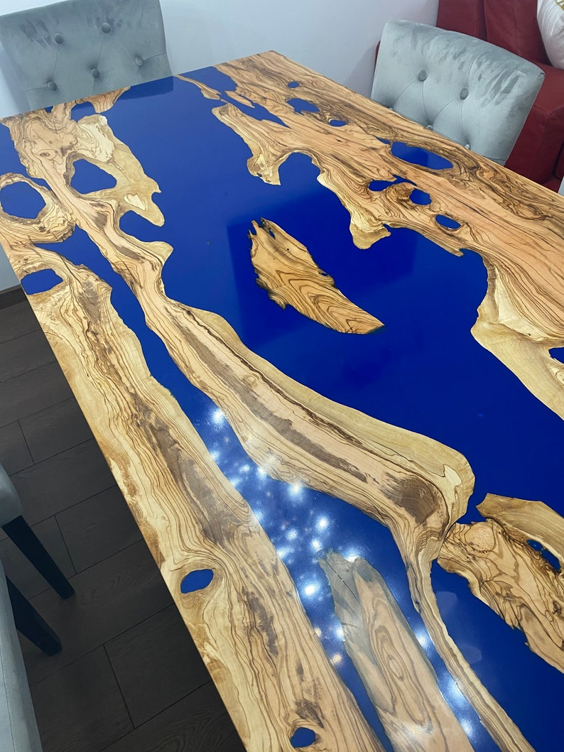 Olive Kitchen Dining Table With Blue Epoxy Resin