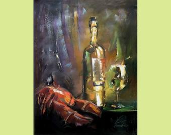 "Lobster painting Original Art  Wineglass Original Oil Painting Art Home Decor 36"" by 25"" by Viktor Smolik"
