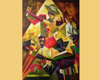 Tango Bar Painting On Custom Original Art  Oil Canvas Tango Dance  Art Home Decor by Viktor Smolik