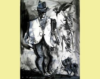 "Dog Walk Painting  Original Art Original Acrylic Painting Art Home Decor 32"" by 25.5"" by TORVIKS"