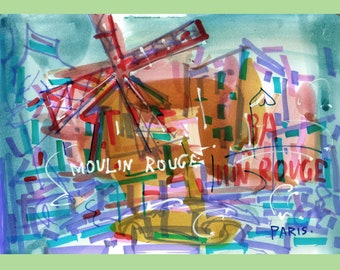 """Moulin Rouge Painting Original Art Watercolor Original Painting  Art  Home Decor 6.4"""" by 9.2"""" by TORVIKS"""