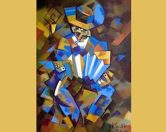 Musician Painting On Custom Original Art Oil Musician Painting Art Home Decor  by Viktor Smolik