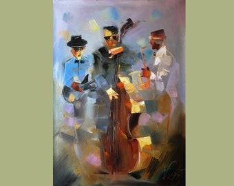 Jazz Musicians Painting On Custom Original Art Oil Musician Painting Art Home Decor  by Viktor Smolik