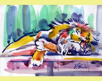 "Lion  Painting Original Art  Watercolor Original  Wild Animal  Art Home Decor  6.4"" by 9.2 by TORVIKS"
