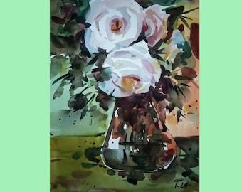 "Roses Flowers Art Original Art Original Watercolor Painting Wall Art 13.5"" by 10.5"" by TORVIKS"