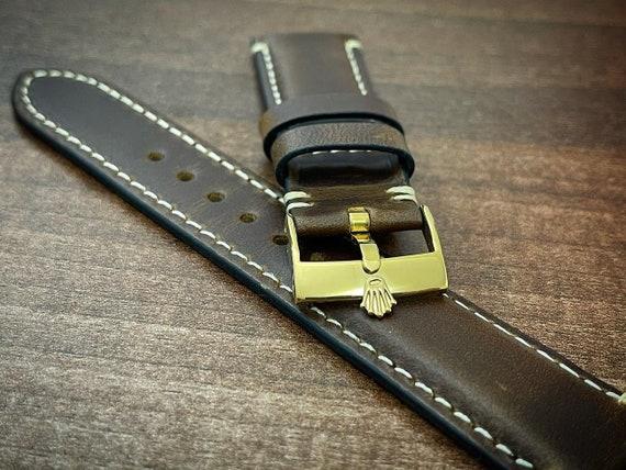 Rolex 20mm vintage rolex leather strap 20mm brown