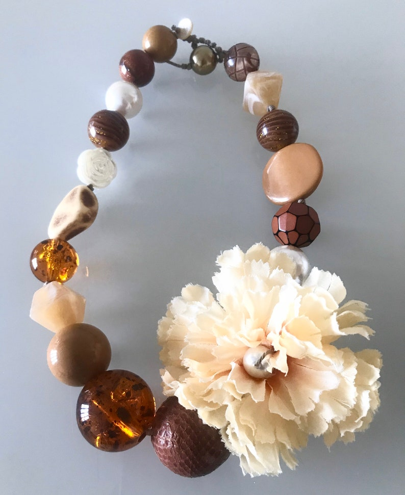 Bronze waxed cotton choker necklace fabric flower and Italian resin and glass stones