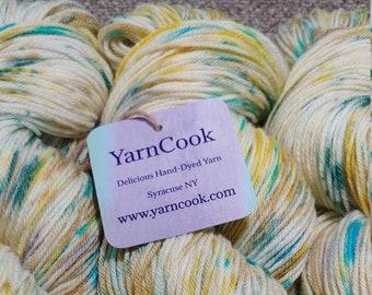 Oasis /  100% Superwash Merino Wool Sock/Fingering Wt /Hand-Dyed/Speckled/Repeatable Colorway/Custom Orders