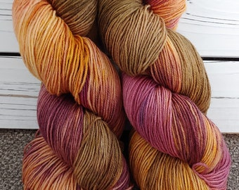 FALL LEAVES  Autumn Colors, Sock Yarn, Shawl Yarn, Fingering Weight, Superwash, Wool/Nylon, Plum, Brown, Orange
