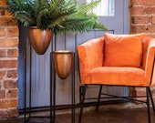 Copper Bullet Planter On Black Frame, Industrial Style Metal Indoor Planter on Legs Large Vintage Style Indoor Plant Pot, Plant Pot on Stand