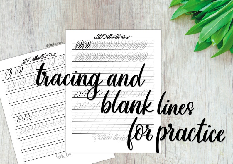 Made By Corrie Lynn Modern Calligraphy Brush /& Pointed Pen Drill Worksheets With Traceable Words of Affirmation