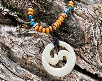 48 x 25 x 19 mm .......... B415 Premium*  Carved Ocean Jasper Snakes  bead ...........