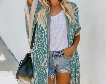 Kimono, Bohemian Kimono, Cover Up, Boho Kimono, Beach Cover Up, Kimono Cardigan, Beachwear, Summer Kimono, Women Clothing, Cover Up Swimwear