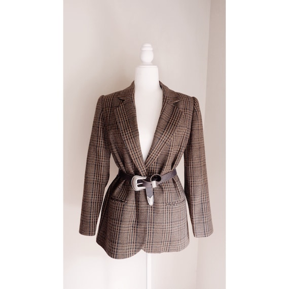 Vintage Brown Plaid Oversized Wool Blazer