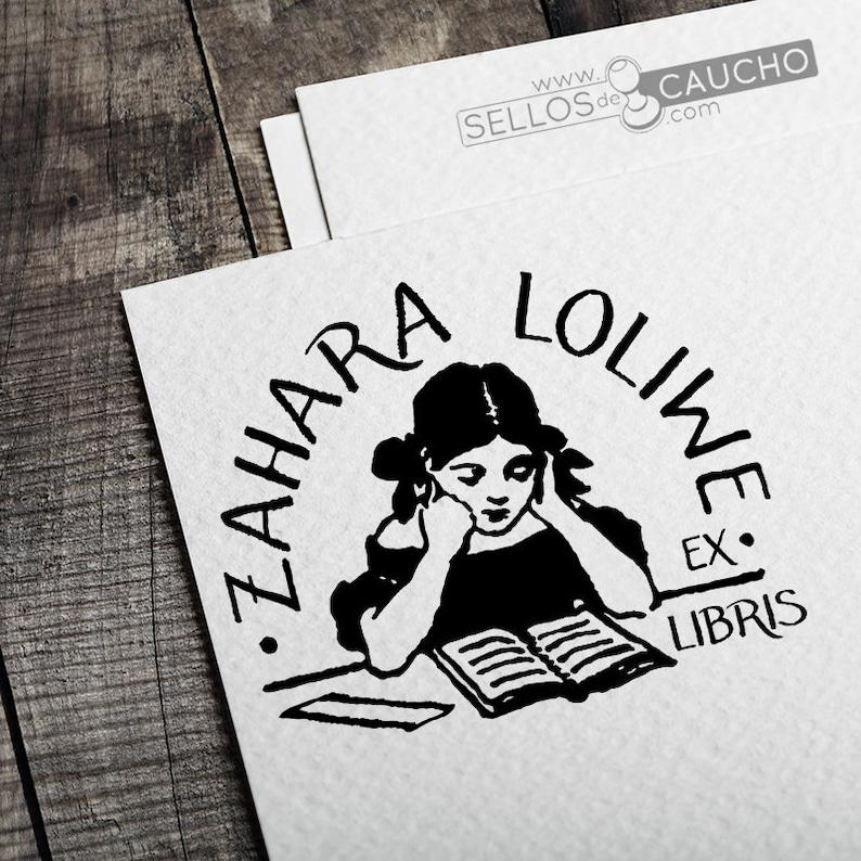 Stamp Books Stamp Girl Reading Books Ex Libris Library Reader Custom Stamp Exlibris Girl Reading Stamp Exlibris Reader