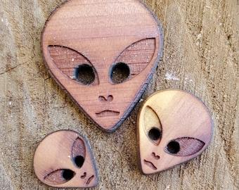 12 Alien Buttons Red Cedar / Crafting / Junk Journal