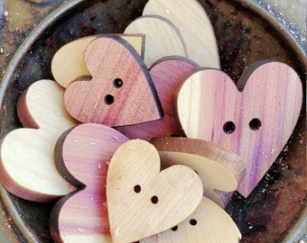 12 Hearts Buttons Red Cedar / Crafting / Junk Journal
