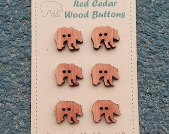 12 Cute Chunky Bear Buttons Red Cedar / Crafting / Junk Journal