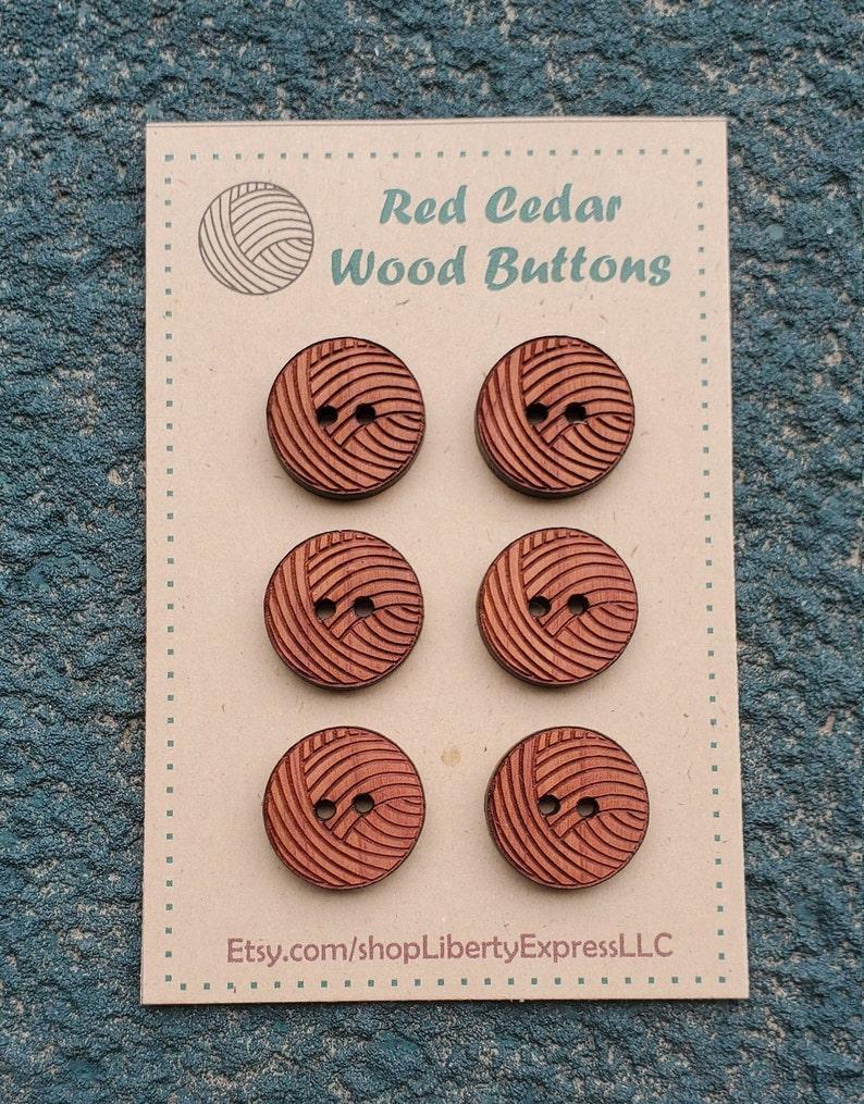 12 Yarn Ball Buttons Red Cedar / Crafting / Junk Journal image 0