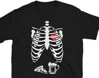 Skeleton Belly With Pizza and Beer, Short-Sleeve Unisex T-Shirt, Halloween Shirt, Costume