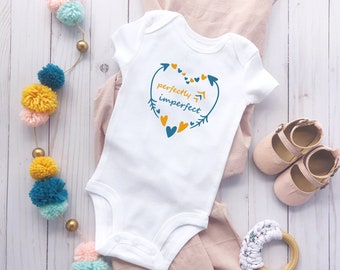 Perfectly Imperfect, Short Sleeve Baby Bodysuit, Down Syndrome Inspired, Perfect for All, Hearts