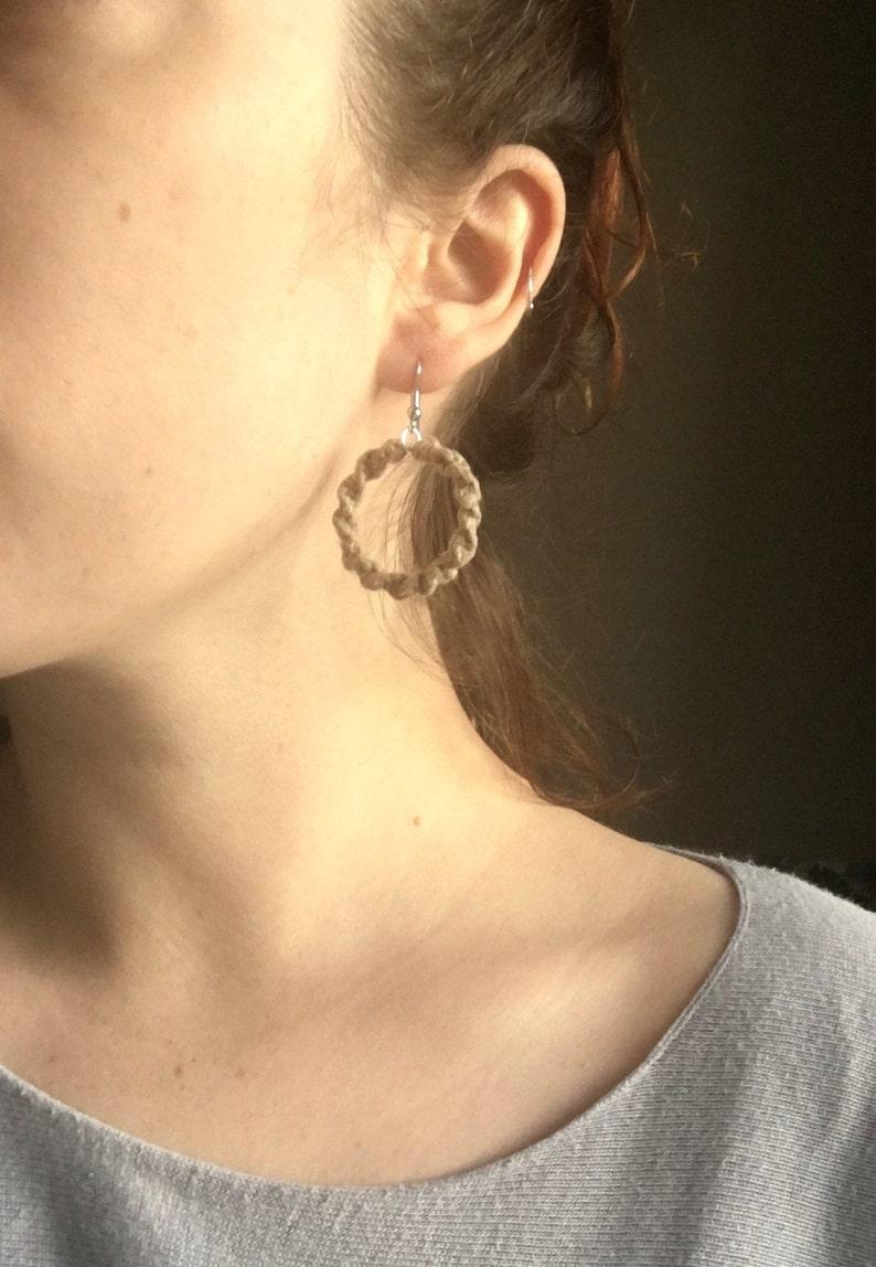 Single Hoop Macrame Earrings Lightweight Beige