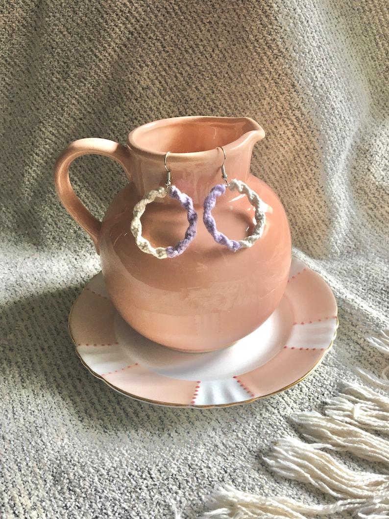 Single Hoop Macrame Earrings Lightweight White and Lilac Boho style Jewellery