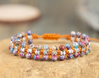 Galaxy Sea Sediment Stone Bracelet-Healing Meditation Balance Bracelet-Spiritual Protection Inner Peace Mental Health Anxiety Relief Gift