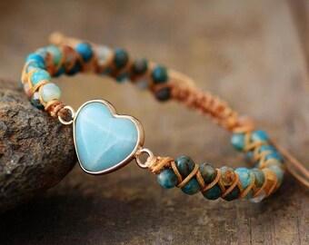 Natural Amazonite Stone Bracelet-Grounding Healing Balance Calm Meditation Love Bracelet-Spiritual Protection Anxiety Stress Relief Bracelet