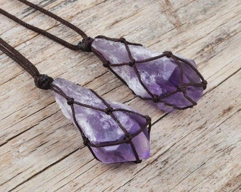 Amethyst Gemstone Necklace Unique February Birthstone Necklace Purple Stone Pendant Amethyst Choker Necklace Black Cord Amethyst Pendant