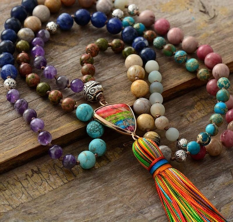 60s -70s Jewelry – Necklaces, Earrings, Rings, Bracelets 108 Beads Healing Mala Necklace-7 Chakra Tassel Necklace-Natural Stone Mala Prayer Beads Necklace-Meditation Spiritual Protection Necklace $19.99 AT vintagedancer.com