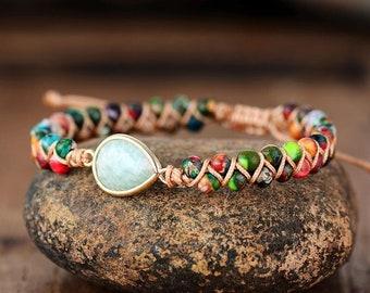 Healing Amazonite Stone Bracelet-Inner Peace Balance Bracelet-Meditation Spiritual Inspiration Energy Protection Bracelet-Mental Health Gift