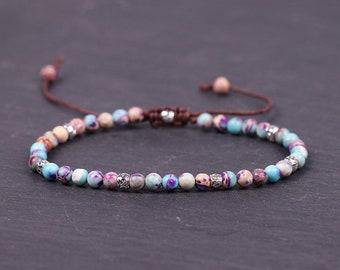 Grounding Bracelet-Positive Energy Bracelet-Natural Japser Stone Bracelets-Friendship Bracelets with Beads-Earth Healing Yoga Bracelet Gift