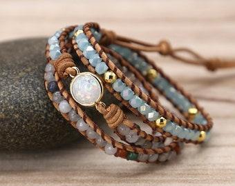 Healing Opal Protection Bracelet-Opal Stone Bead Meditation Bracelet-Natural Opal Moonstone Inspiring Bracelet-Leather Wrap Bracelet Gift